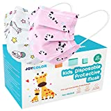 JOYCOLOR Cute kids face mask,Children's 3 Ply Protective Earloop Disposable Filter Masks with Unicorn & Pink Panda Pattern for Dust Air Pollution   50 Pcs