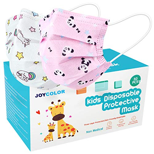 JOYCOLOR Cute kids face mask,Children's 3 Ply Protective Earloop Disposable Filter Masks with Unicorn & Pink Panda Pattern for Dust Air Pollution | 50 Pcs
