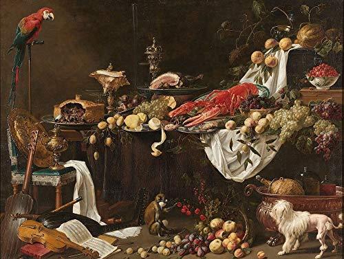 Adriaen van Utrecht - Pronkstilleven 90x60cm, Rijksmuseum, premium print, print op canvas, oude meester - Muurdecoratie