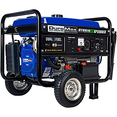 DuroMax XP5500EH Dual Fuel Portable Generator - 5500 Watt Gas or Propane Powered-Electric Start- Camping & RV Ready, 50 State Approved,Blue/Black