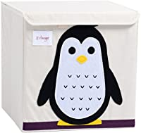 Harson&Jane Childrens Large Capacity Fabric Storage Cube Cartoon Toy Clothes Organizer with Lid (Penguin)