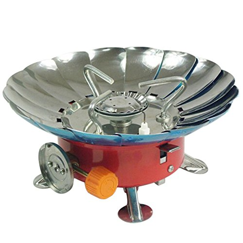 Generic Portable Pliante Style coupe-vent extérieur au butane Réchaud à gaz Tête Camping cuisson équipement