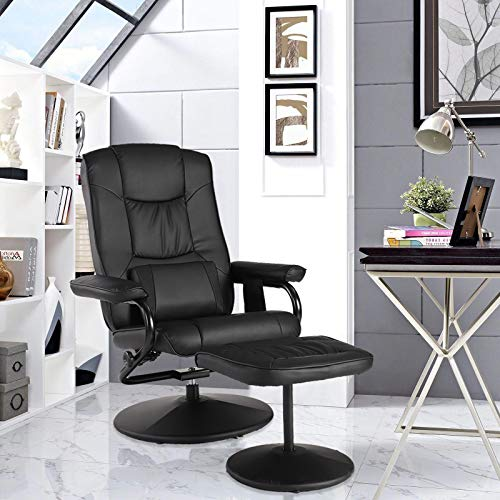 LETATA Basics Ergonomic Massage Recliner Living Room Classic Recliner with Ottoman Stressless Chairs Black Leather Recliner Office Reading Chair Recliner Chair for Nursery(Classic)