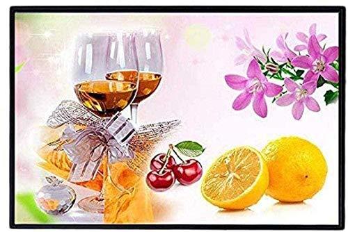 Bordado de kit punto de cruz Kit para adultos Vino tinto y fruta(lienzo preimpreso 11CT) Bordado de principiantes punto de cruz Niños regalo decoración del hogar,40x50cm