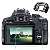 850D T8i - Protector de pantalla y visor EF para cámara Canon EOS 850D Rebel T8i (2+1 paquetes), protector de pantalla de vidrio templado ultratransparente Fire Rock y ocular para 850D T8i