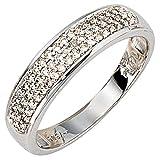 Girahlutions - Ring - Damenring - Goldring - 14 Karat (585) Weißgold - Gold - 50 Diamant-Brillanten...