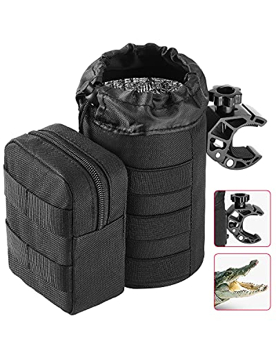 kemimoto Large Boat Cup Holder, Oxford Fabric Drink Cup Can Holder with Upgrade Alligator Clamp for UTV, ATV, Scooter, Marine Boat, Wheelchair, Walker, Golf Cart, Stroller