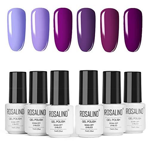 ROSALIND Gel Nagellack-Set Violetter,Schellack Nagellack Starterset,Gel Nail Polish Purple für...