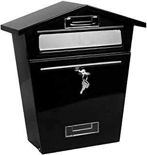 33 x 21 x 48cm Large Post Mailbox with 2 Keys Weather Resistant Letter Newspaper Holder Maxmass Wall Mounted Lockable Letter Mail Box