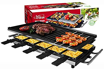 Artestia 10 Person Large Stainless Steel Electric Raclette Grill with Two Half Size Plates, High Power 1500W