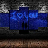 IMXBTQA Cuadro En Lienzo, Imagen Impresión, Pintura Decoración, Cuadro Moderno En Lienzo 5 Piezas XXL, 150X80 Cm,Te Amo Pareja Silueta Estrellada Murales Pared Hogar Decor