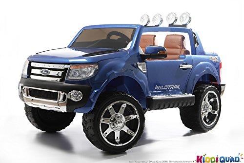 Ford - Coche eléctrico para niños, Ford Ranger, 2plazas, 12V, 2 motores, color azul metalizado