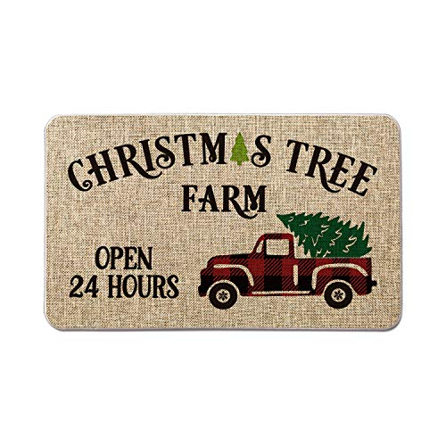 Artoid Mode Farm Truck with Christmas Tree Decorative Doormat Open 24 Hours,Seasonal Winter Christmas Holiday Low-Profile Floor Mat Switch Mat for Indoor Outdoor 17 x 29 Inch