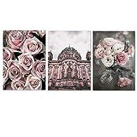 ローズフラワーピンクストリートビルディングウォールアートキャンバス絵画ポスターとプリント壁の写真リビングルームの装飾