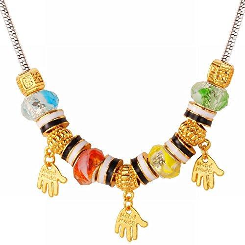 Thumby Fashion grote gat glas kralen ketting gepersonaliseerde letters hand hanger, goud