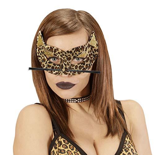 NET TOYS Mscara felpuda Leopardo para Dama - Marfil-Marrn - Llamativo Accesorio de Disfraz para Mujer tigresa - til para Bailes de mscaras y Carnaval