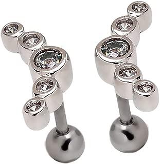 Mutreso 16G Ear Cartilage Barbell Helix Earlobe Studs Earrings Piercings Jewelry (1 Pair)