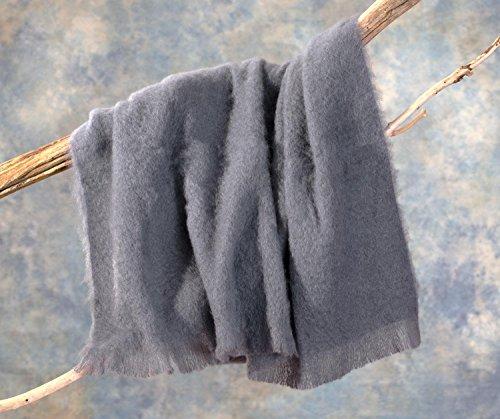 Luxus Wolldecke aus 100% Mohair, Mohairdecke, Mohairplaid graublau 130x180cm