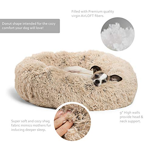 """Best Friends by Sheri The Original Calming Donut Cat and Dog Bed in Shag Fur, Machine Washable, for Pets up to 25 lbs. - Small 23""""x23"""