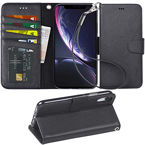 Arae Wallet Case Designed for iPhone XR PU Leather flip case Cover [Stand Feature] with Wrist Strap and [4-Slots] ID&Credit Cards Pocket for iPhone XR 6.1 inch -Black