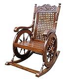 Craftatoz A To Z Grandpa Rocking Chair Hand Caved (Brown, 43x24x37-inch)