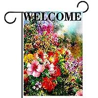 春夏両面フローラルガーデンフラッグウェルカムガーデンフラッグ(28x40inch)庭の装飾のため,色とりどりの春夏の花の花を歓迎します
