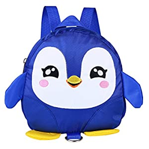 Zaino di sicurezza per bambini, Kids Toddlers Cartone animato di animali per bambini Penguin Anti-perso Schoolbag con guinzaglio di sicurezza per bambini 1-3 anni Ragazzini(Blue)