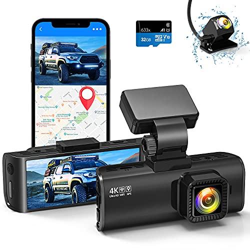Dual-Dashcam mit integriertem WiFi-GPS, vorne 4 K/2,5 K und hinten, 1080 P, Dual-Dashcam für Autos, 8 cm Display, 170 ° Weitwinkel, Auto-Armaturenbrett-Kamera, Recorder mit Nachtsicht, unterstützt max. 256 GB