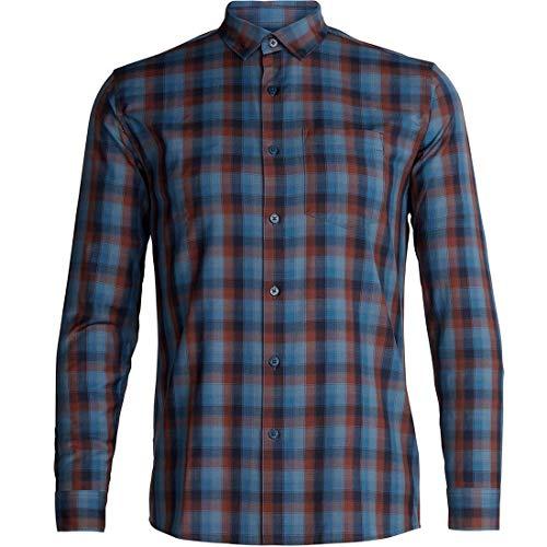 Icebreaker Merino Men's Departure II Button Down Shirt for Travel, New Zealand Merino Wool, Midnight Navy/Granite Blue/Plaid, Small