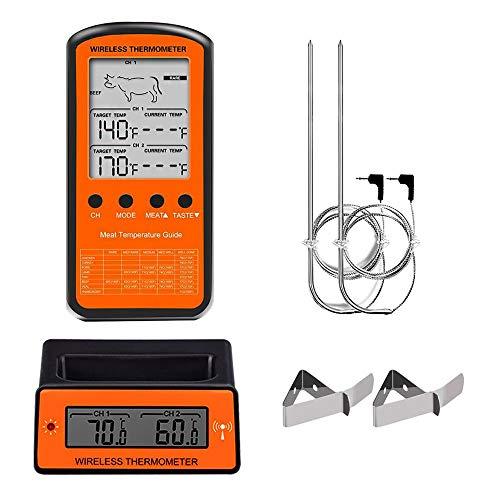 Kimmyer Drahtloses BBQ-Fleischthermometer mit Doppelsonde, ferngesteuertes Lebensmittel-BBQ-Thermometer, digitaler LCD-Bildschirm mit Hintergrundbeleuchtung für Smoker Grill Oven BBQ