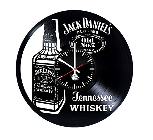 Tafel houlian winkel Een fles Whiskey Creatieve Vinyl Record Wandklok Retro Handgemaakte Home Decor Wandklok, 30 cm (12inch) 30cm(12inch)