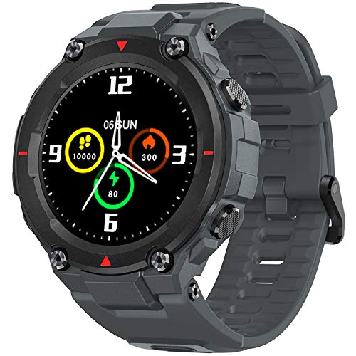 AllCall Model 3 Smartwatch,mit Blutdruck messung Intelligente Uhr IP68 Waterproof,Pulsuhren GPS-Fitness Tracker Uhr Bluetooth,1.28 Zoll Touchscreen Smart Watch für Damen Herren Android iOS(Grau)