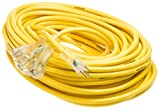 Yellow Jacket 2820 SJTW Extension Cord with 3-Outlet Lighted Power Block, 3 12 Awg Bare Conductor, 100 Foot, Copper