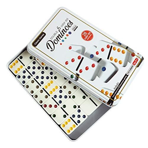 Dominos Set Game Premium Classic 28 Color Pieces Double Six Domino Durable tin Box Kids Boys Girls Party Favors and Anytime use Duoble 6 Dominoes Mexican Train/Chicken Foot/juego 24 Players