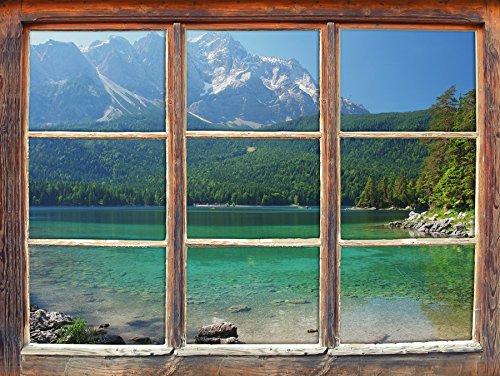 Stil.Zeit Möbel Landscape Landschaft See Sonnenschein Pflanzen Bäume Wald, Fenster 3D-Wandsticker Format: 62x42cm Wanddekoration 3D-Wandaufkleber Wandtattoo