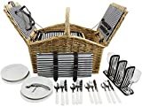 HappyPicnic 'Huntsman' Hamper Picnic Hamper per 4 persone con doppio coperchio e dispositivo di raffreddamento isolato 'Built-in', salice Picnic Set (Navy Stripe)