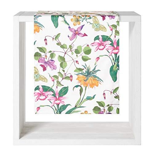 Proflax Tischdecke Paradise 50x160cm l Blumen l Weiß Bunt