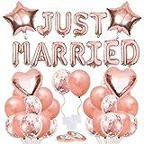 Globo Recién Casados, Globos de Látex, Banner para recién casados, Globos de Oro Rosa, Just Married Globo, Confeti Globos, Decoración adecuado para la fiesta de Boda, ducha nupcial, boda de compromiso