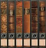 6er Set Ordnerrücken für schmale Ordner Bücher 7 - 12 Lexikon Ordner Aufkleber Etiketten Deko 610