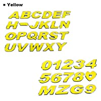 ARGYJAE 車のステッカー色の文字アルファベット番号3Dクロムエンブレムバッジ3cm金属4色自動オートバイ車アクセサリーの装飾 (Color Name : Yellow, Style : 5)