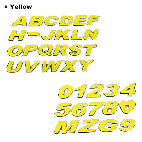 HTTY Etiqueta engomada del automóvil Coloree Letra Alfabeto Número 3D Chrome Emblem Badge 3CM Metal 4 Colores Auto Motocicleta Accesorios DE Accesorios (Color Name : Yellow, Style : F)