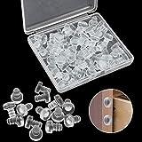 SRunDe - 50 protectores de mesa de cristal con vástago de goma suave transparente y anticolisión, almohadillas redondas para armarios y cajones, espaciadores para puertas de 3/16 pulgadas