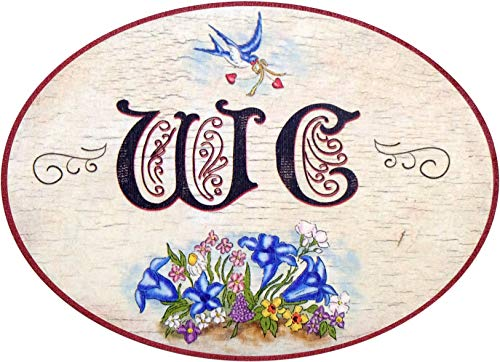 Letrero de madera para puerta de inodoro, diseño antiguo, impresión colorida
