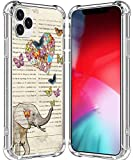 Case for iPhone 12 Pro Elephant/IWONE Cute Rubber Durable Protective Skin Cover Patterned Compatible for iPhone 12/12 Pro 5G 6.1 Inches Vintage Funny Cute Elephant Design Pattern Animal
