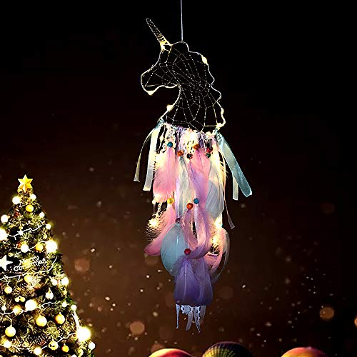 Tree Bud LED Dream Catcher, Handmade Dreamcatcher Feather Indian Wall Hanging Decoration, Ornament for Warm Homes and Kids Room Teepee Tents Décor (Unicorn)