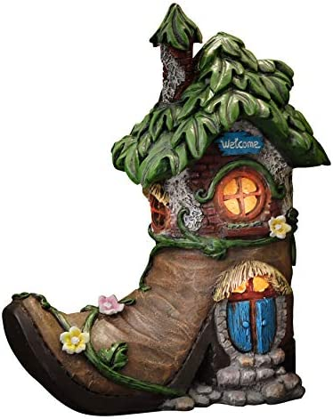 TERESA S COLLECTIONS 8 5 Inch Fairy House Garden Statues with Boots Solar Powered Lights Garden product image
