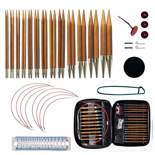 Bamboo Circular Knitting Needles Set with 13 Sizes,Interchangeable Circular Knitting Needles with Storage Case for Any Crochet Patterns & Yarns Projects