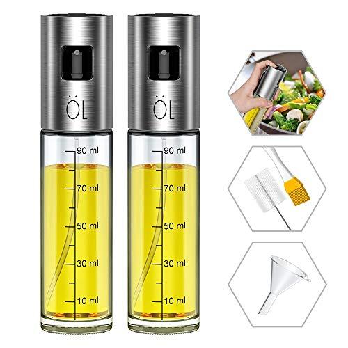 [ 2 Pack ] Pulverizador Aceite Ninonly Pulverizador Spray Oliva Aceite Recargable Botella con 2 Pinceles y 1 Embudo para Cocinar/Ensalada/Hornear Pan/BBQ/Cocina
