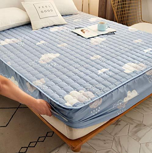 Transpirable - Funda para colchon,Ropa de cama de dibujos animados acolchada cubierta de colchón impermeable sábana gruesa de calor lavable sábana grande cama doble individual-M_200x220cm + 25cm