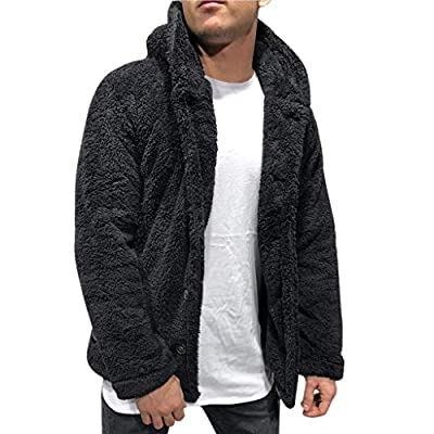 OMINA Mens Fluffy Hoodie Sweaters Autumn Winter Warm Fleece Cardigan with Buttons Lightweight Fashion Casual Teddy Coat Black